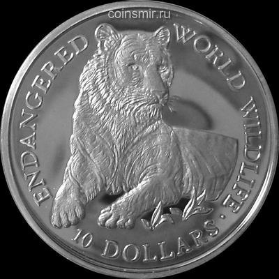 10 долларов 1990 острова Кука. Тигр.