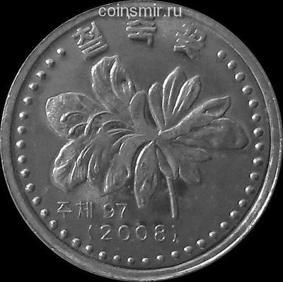 1 чон 2008 Северная Корея. Цветок. С иероглифами по сторонам герба.