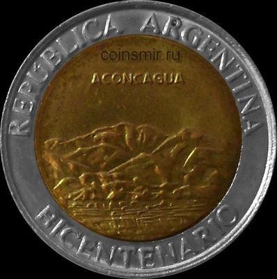 1 песо 2010  Аргентина. 200 лет независимости. Горы Аконкагуа.