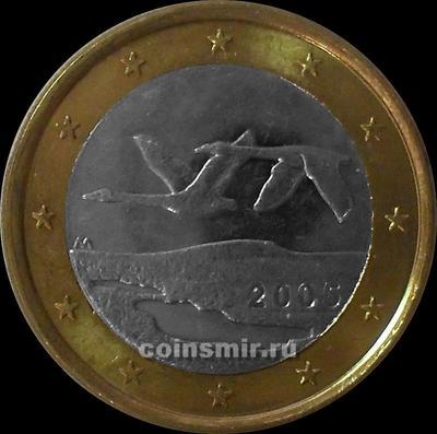 1 евро 2005 Финляндия. Лебеди.