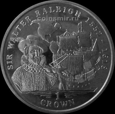 1 крона 1999 остров Мэн. Сэр Уолтер Рэли.