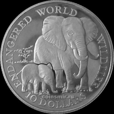 10 долларов 1990 острова Кука. Слоны.
