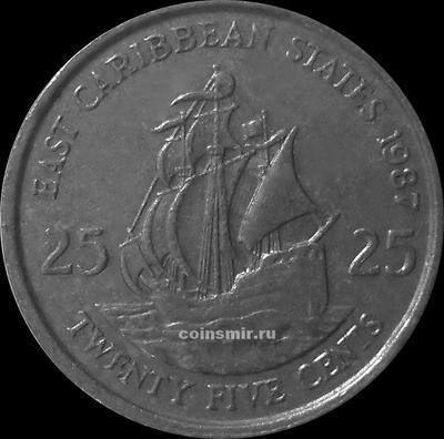 25 центов 1987 Восточные Карибы. (в наличии 1981 год)