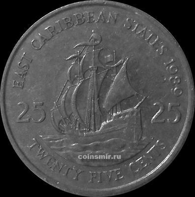 25 центов 1989 Восточные Карибы.