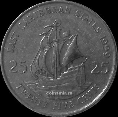 25 центов 1999 Восточные Карибы.