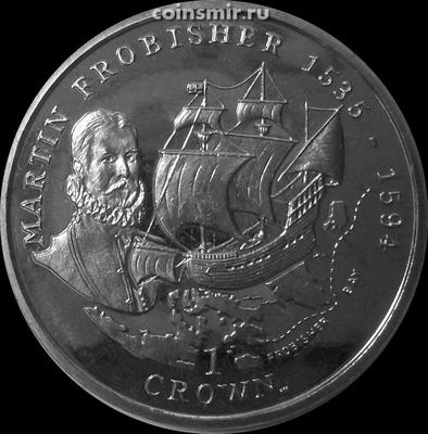 1 крона 2001 остров Мэн. Сэр Мартин Фробишер.