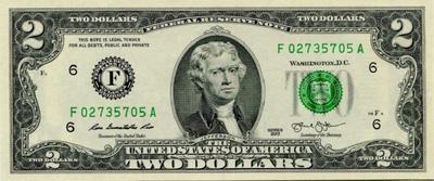 2 доллара 2013 F США.
