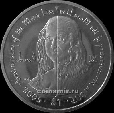 1 доллар 2006 Британские Виргинские острова. 500 лет картине Мона Лиза.