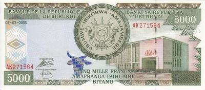 5000 франков 2005 Бурунди.