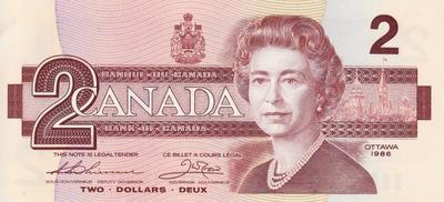 2 доллара 1986 Канада.