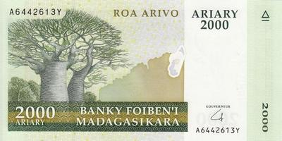2000 ариари (10000 франков) 2008 Мадагаскар.