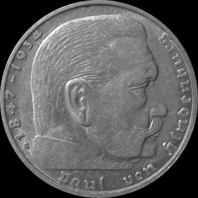 2 марки 1938 G Германия. Гинденбург. Третий Рейх.