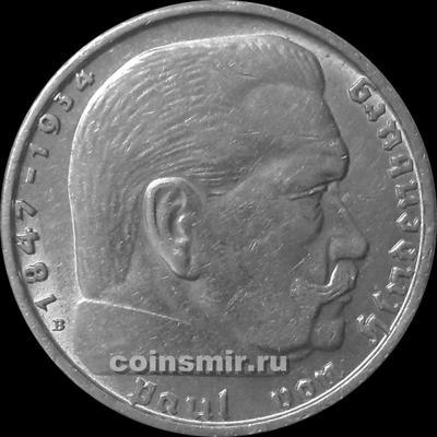 2 марки 1938 В Германия. Гинденбург. Третий Рейх.