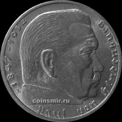 2 марки 1939 А Германия. Гинденбург. Третий Рейх.