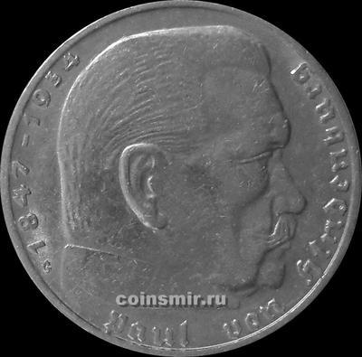 2 марки 1939 G Германия. Гинденбург. Третий Рейх.