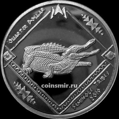 1/4 доллара 2019 племя Семинолы. Крокодил.