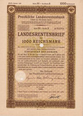 Облигация 4,5% 1000 рейхсмарок 1.07.1939 Германия. Третий рейх.