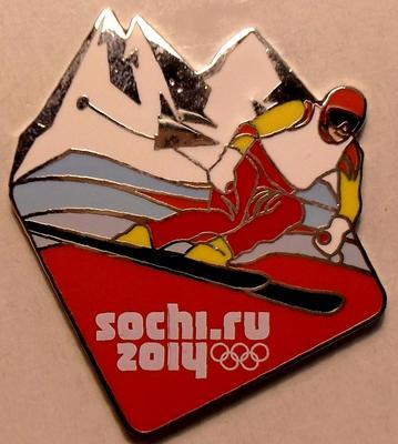 Значок Горнолыжный спорт. Олимпиада в Сочи 2014.
