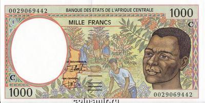 1000 франков 1993-2000 С КФА BEAC (Центральная Африка).