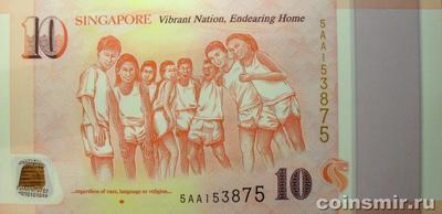 10 долларов 2015 Сингапур. 50 лет независимости Сингапура.