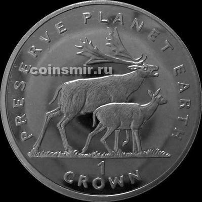 1 крона 1994 Остров Мэн. Олени.