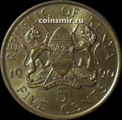5 центов 1990 Кения. (в наличии 1984 год)