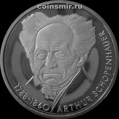 10 марок 1988 D Германия. ФРГ. Артур Шопенгауэр. Пруф.