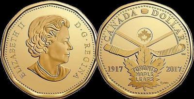 1 доллар 2017 Канада. 100 лет Торонто Мейпл Лифс.