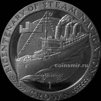 1 крона 1988 Остров Мэн. Пароход Королева Мэри.
