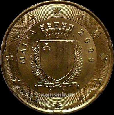 20 евроцентов 2008 Мальта. Герб государства.