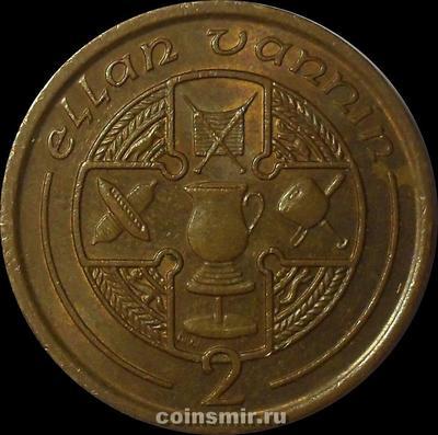 2 пенса 1990 остров Мэн. Кельтский крест в круге.