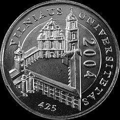 1 лит 2004 Литва.  425 лет Вильнюсскому университету.