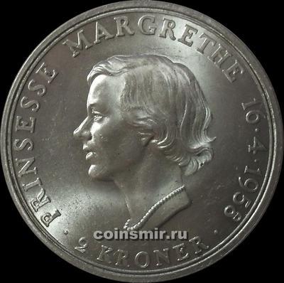 2 кроны 1958 Дания. 18 лет принцессе Маргрете.