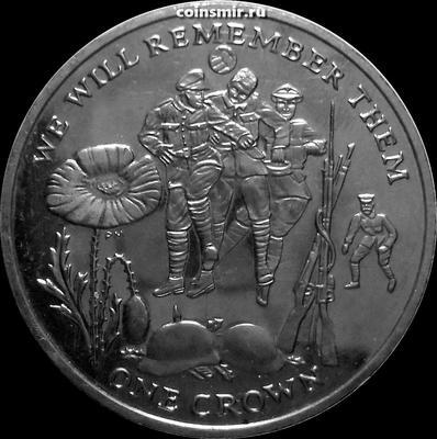 1 крона 2014 остров Мэн. Первая Мировая война. Мы будем помнить.