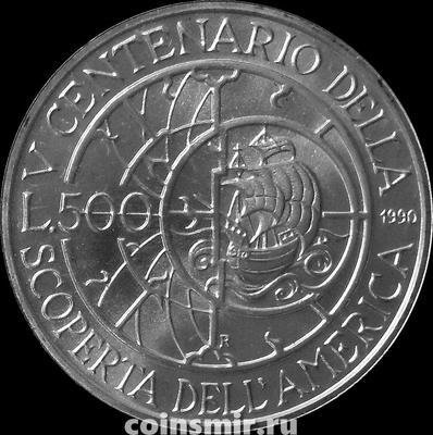 500 лир 1990 Италия. 500 лет открытию Америки. Буклет.