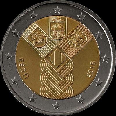 2 евро 2018 Эстония. 100 лет независимости прибалтийских государств.