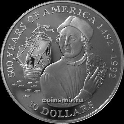 10 долларов 1990 острова Кука. 500-летие Америки. Христофор Колумб.