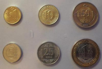 Набор из 6 монет 2009 Турция. Запайка.