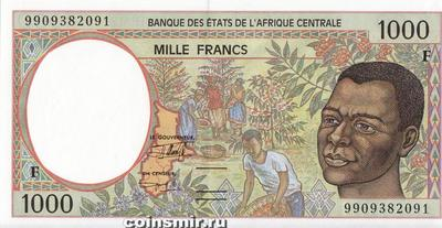 1000 франков 1993-2000 F КФА BEAC (Центральная Африка).