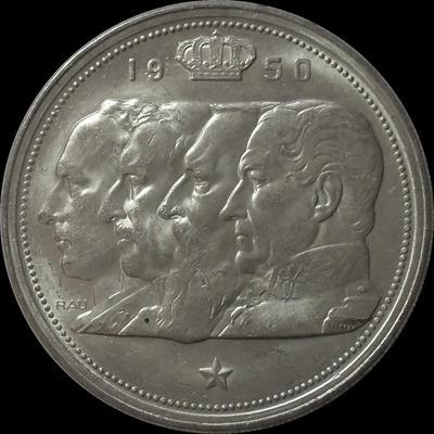 100 франков 1950 Бельгия. BELGIQUE. Королевская династия.