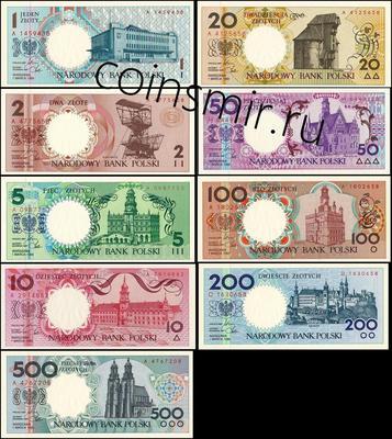 Набор из 9 банкнот 1990 Польша. Буклет.
