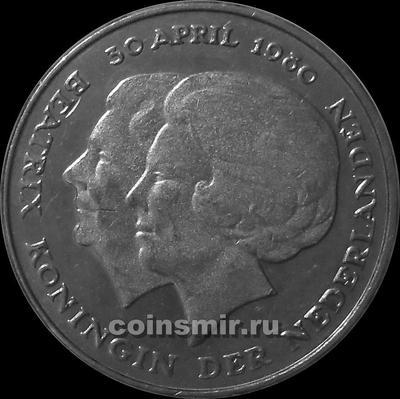 1 гульден 1980 Нидерланды. Коронация королевы Беатрис.