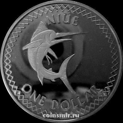 1 доллар 2010 Остров Ниуэ. Рыба-меч.