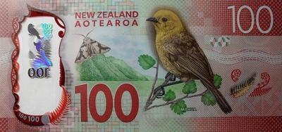 100 долларов 2016 Новая Зеландия. Желтоголовая мохуа.