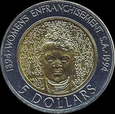 5 долларов 1994 Австралия. 100-летие женского избирательного права.