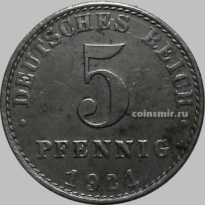 5 пфеннигов 1921 А Германия. ХF