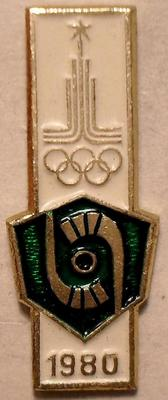 Значок Хоккей на траве. Олимпиада 1980 в Москве. Клюшки с мячом.