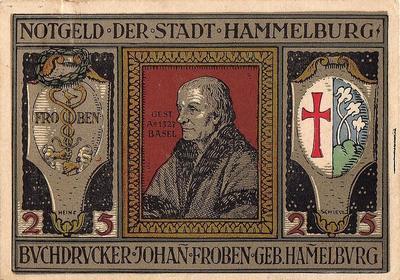 25 пфеннигов 1921 Германия г.Хаммельбург (Бавария). Нотгельд.