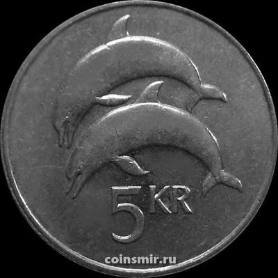 5 крон 1992 Исландия. Дельфины.