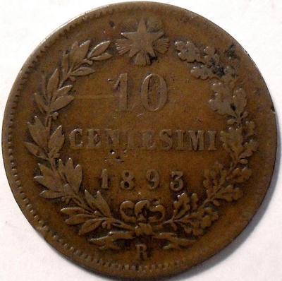 10 чентезимо 1893 R Италия.
